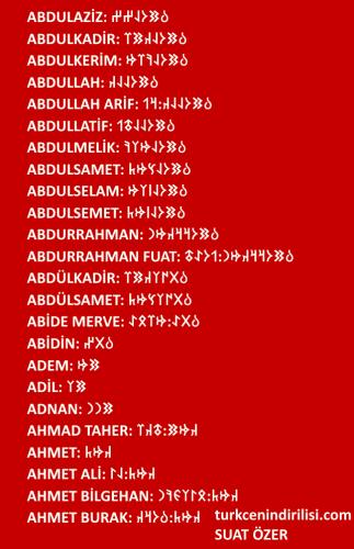 Göktürkçe adınızın yazılışı. Sonradan eklenenler. Alfabetik sırayla adınızı arayabilirsiniz.