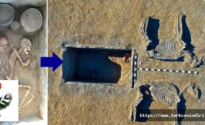 Kazakistan'da bir çift, at arabası şeklinde 5 bin yıllık mezarda bulundu