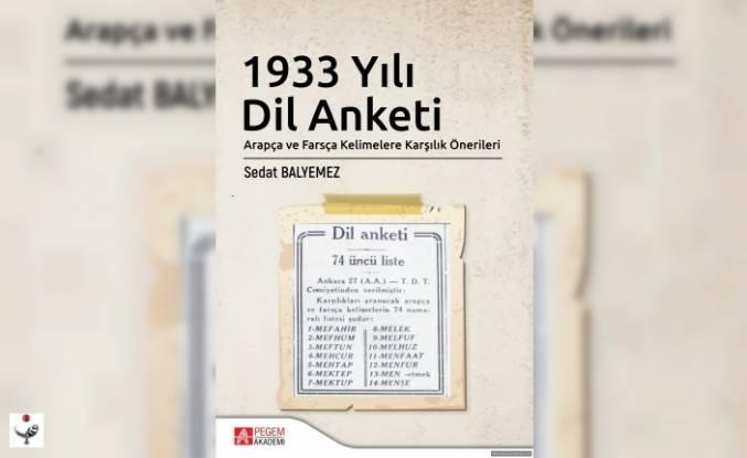 Kitap Duyurusu - 1933 Yılı Dil Anketi