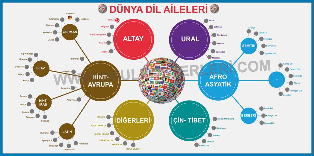 Dünyada Dil Aileleri, Dünya Dillerinin Sınıflandırılması, dillerin sınıflandırılması ve türkçenin dünya dilleri arasındaki yeri, dillerin sınıflandırılması, Dünyada Dil Aileleri, Dünya Dillerinin Sınıflandırılması, Dil Aileleri Tablosu