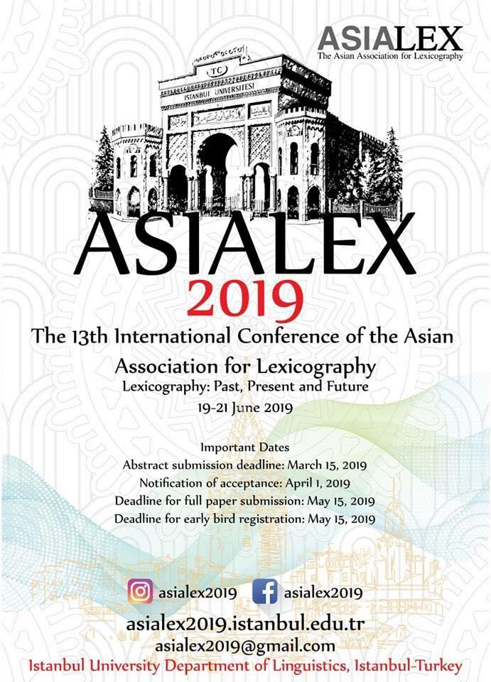 Uluslararası Asya Sözlükbilimi Topluluğu Konferansı), ASIALEX 2019