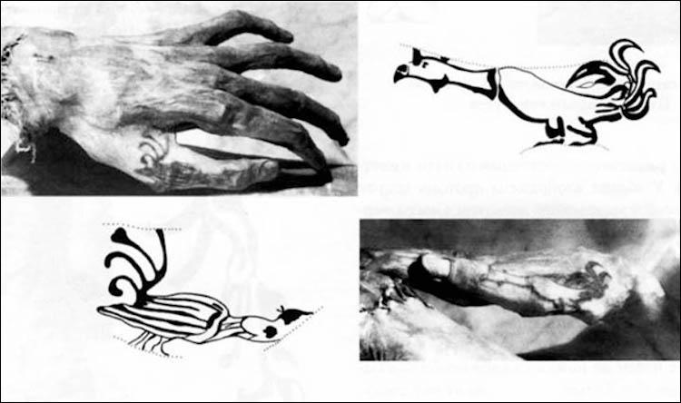 Pazırık Halısı üzerindeki figürler, Pazırık dövmeleri